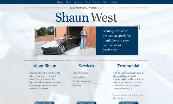 Shaun West home page