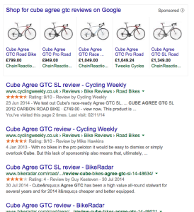 Search results page for bike review